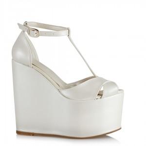 Gelin Ayakkabısı Yüksek Dolgu Topuk Kırık Beyaz
