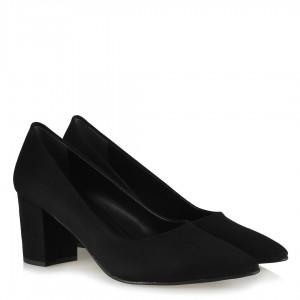 Stiletto Siyah Süet Topuklu Ayakkabı Kalın Topuklu