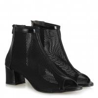 Fileli Bot Sandalet Siyah Kısa Topuklu