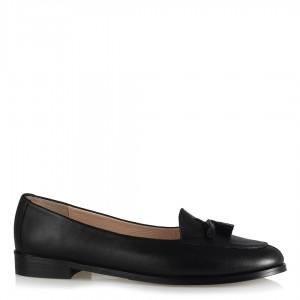 Loafer Hakiki Deri Püsküllü Ayakkabı Siyah