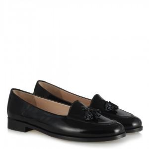 Düz Ayakkabı Siyah Hakiki Deri Rugan Püsküllü