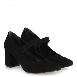 Topuklu Ayakkabı Siyah Süet Cırtlı Kemerli
