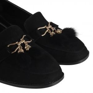 Loafer Ayakkabı Tüylü Aksesuarlı Siyah Süet