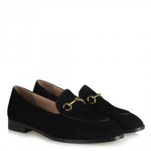 Siyah Hakiki Deri Süet Zincirli Ayakkabı
