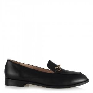 Loafer Ayakkabı Siyah Hakiki Deri Zincirli