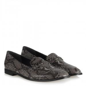 Loafer Yılan Desenli Düz Ayakkabı