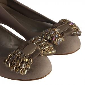 Tokalı Babet Ayakkabı Vizon Süet