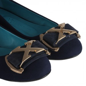 Babet Ayakkabı Lacivert Süet Sarı Metalik Tokalı