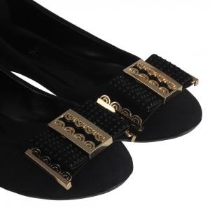 Siyah Süet Babet Ayakkabı Tokalı