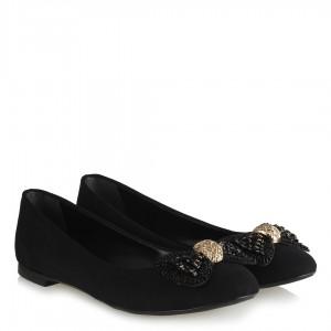 Babet Ayakkabı Tokalı Siyah Boncuk Fiyonklu