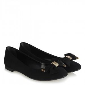 Babet Ayakkabı Siyah Fiyonklu Metal