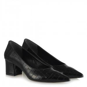 Stiletto Siyah Crocodile Desenli Ayakkabı