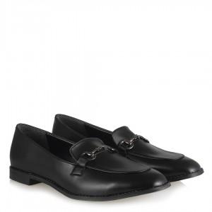 Düz Ayakkabı Loafer Siyah Zincirli Mat Deri