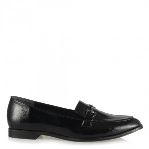 Ayakkabı Loafer Siyah Kırışık Rugan