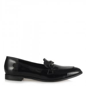 Loafer Düz Bayan Ayakkabı Siyah Rugan