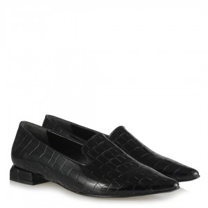 Loafer Siyah Crocodile Sivri Dilli Model