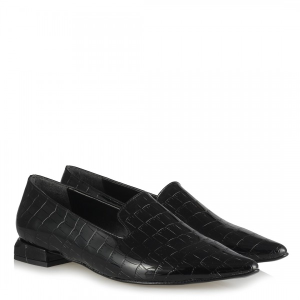 Loafer Siyah Crocodile Sivri Dilli Model