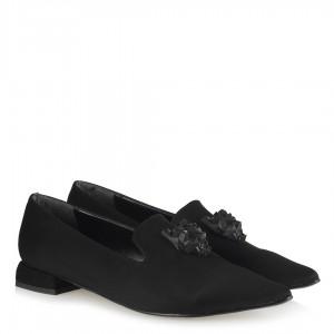 Loafer Siyah Süet Tokalı Düz Ayakkabı Sivri Burun