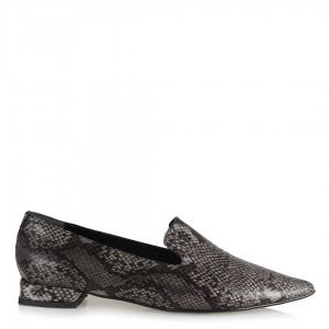 Loafer Gri Yılan Desenli Düz Ayakkabı Sivri Burun