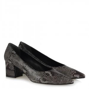 Topuklu Ayakkabı Gri Yılan Desenli Stiletto