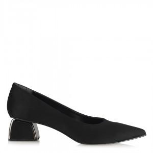 Topuklu Ayakkabı Stiletto Metal Topuklu Siyah Süet