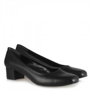 Kalın Topuklu Ayakkabı Siyah Mat Deri