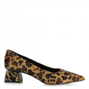 Topuklu Ayakkabı Stiletto Leopar Metal Topuklu