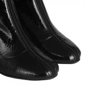 Topuklu Bot Fermuar Detaylı Siyah Rugan