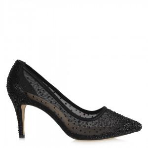 Prenses Siyah Taşlı Tül Abiye Ayakkabı