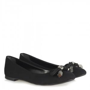 Babet Ayakkabı Siyah Süet Fiyonk Halat