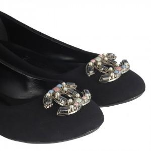 Babet Ayakkabı Siyah  Süet Renkli Tokalı Model