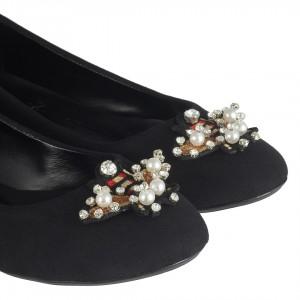 Babet Ayakkabı Siyah Süet İncili Taşlı
