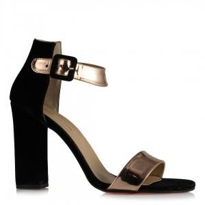 Topuklu Ayakkabı Siyah Süet Bakır Bantlı
