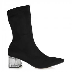 Siyah Süet Şeffaf Topuklu Çorap Bot