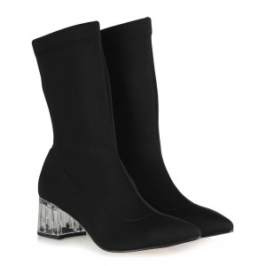 Çorap Bot Topuklu  Siyah Streç