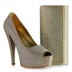 Taşlı Önü Açık Dore Topuklu Ayakkabı