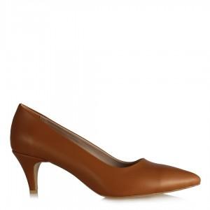 Stiletto Ayakkabı Az Topuklu Taba Rengi