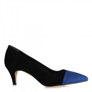 Stiletto Siyah Süet Saks Mavi Detaylı