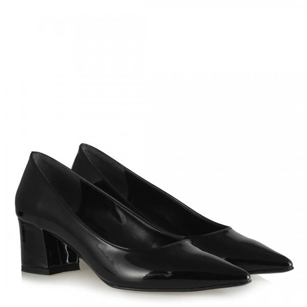 Stiletto Siyah Rugan Topuklu Ayakkabı