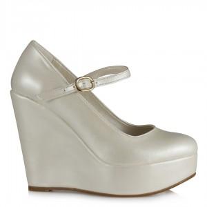 Gelin Ayakkabısı Dolgu Topuk Balerin Kemerli Model