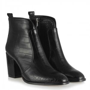 Siyah Crocodile Topuklu Bayan Bot