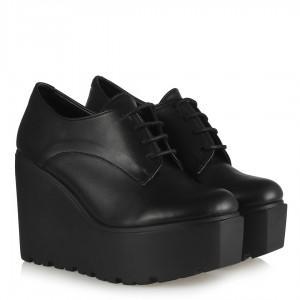Siyah Bağcıklı Dolgu Topuk Ayakkabı