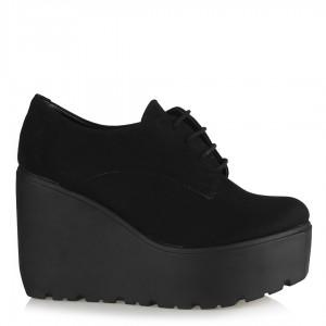Dolgu Topuk Ayakkabı Siyah Süet Bağcıklı