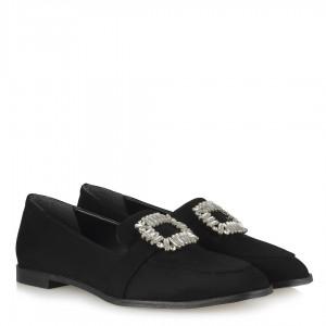 Loafer Ayakkabı  Siyah Süet Taşlı Tokalı