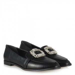 Siyah Düz Ayakkabı Kırışık Deri Taşlı