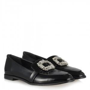 Düz Ayakkabı Siyah Rugan Taşlı Tokalı