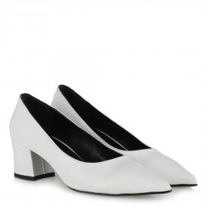 Beyaz Stiletto Kalın Topuklu