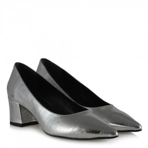 Stiletto Ayakkabı Gümüş Renk Kalın Topuk