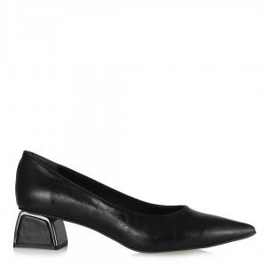 Metal Topuklu Stiletto Siyah Kırışık Deri