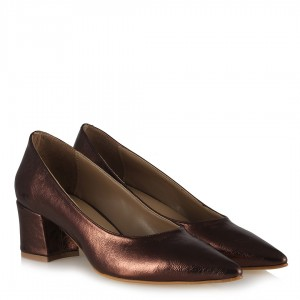 Stiletto Kahverengi Parlak Kalın Topuklu